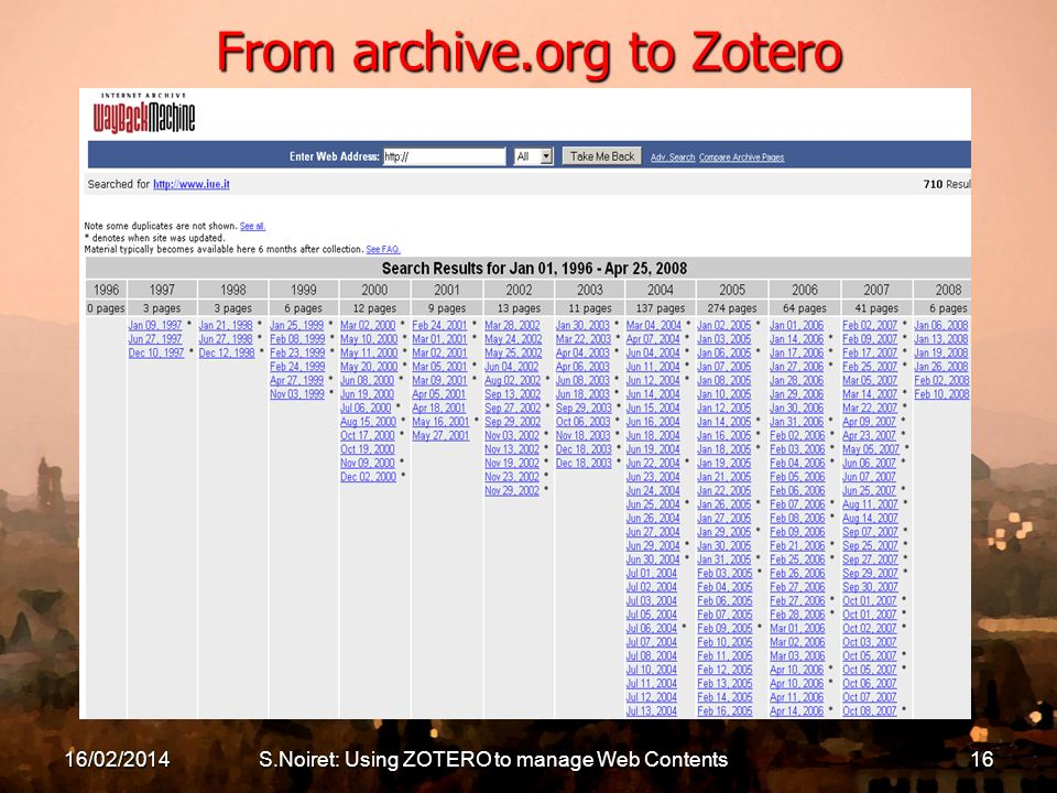 16/02/2014S.Noiret: Using ZOTERO to manage Web Contents16 From archive.org to Zotero