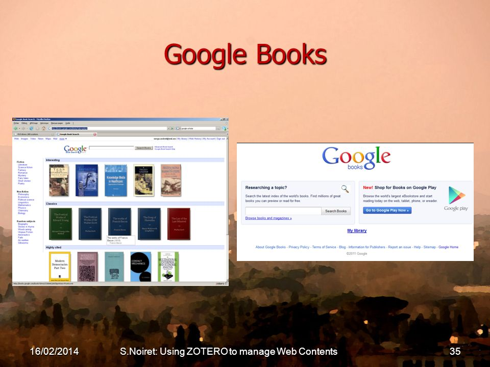 Google Books 16/02/2014S.Noiret: Using ZOTERO to manage Web Contents35