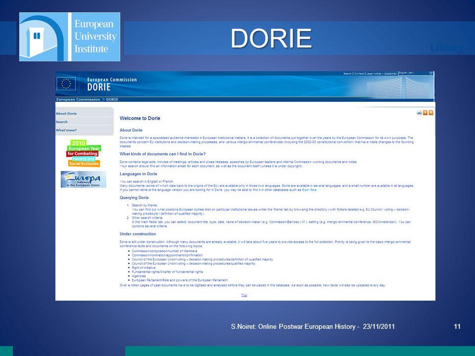 Library S.Noiret: Online Postwar European History - 23/11/201111 DORIE