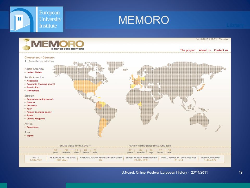 Library S.Noiret: Online Postwar European History - 23/11/201119 MEMORO