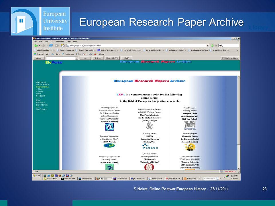 Library S.Noiret: Online Postwar European History - 23/11/201123 European Research Paper Archive