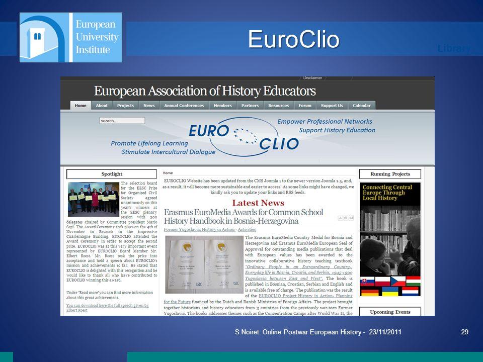 Library S.Noiret: Online Postwar European History - 23/11/201129 EuroClio