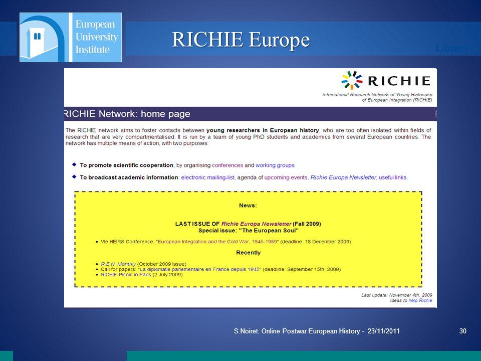 Library S.Noiret: Online Postwar European History - 23/11/201130 RICHIE Europe