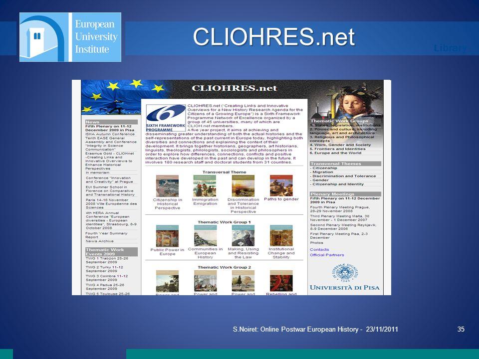 Library S.Noiret: Online Postwar European History - 23/11/201135 CLIOHRES.net