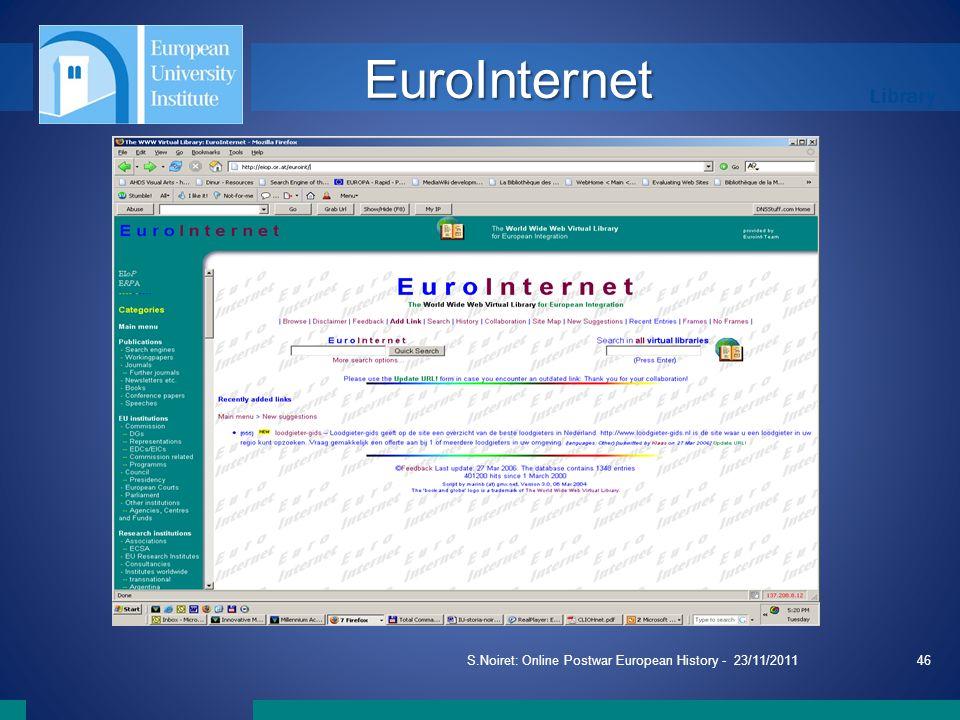 Library S.Noiret: Online Postwar European History - 23/11/201146 EuroInternet