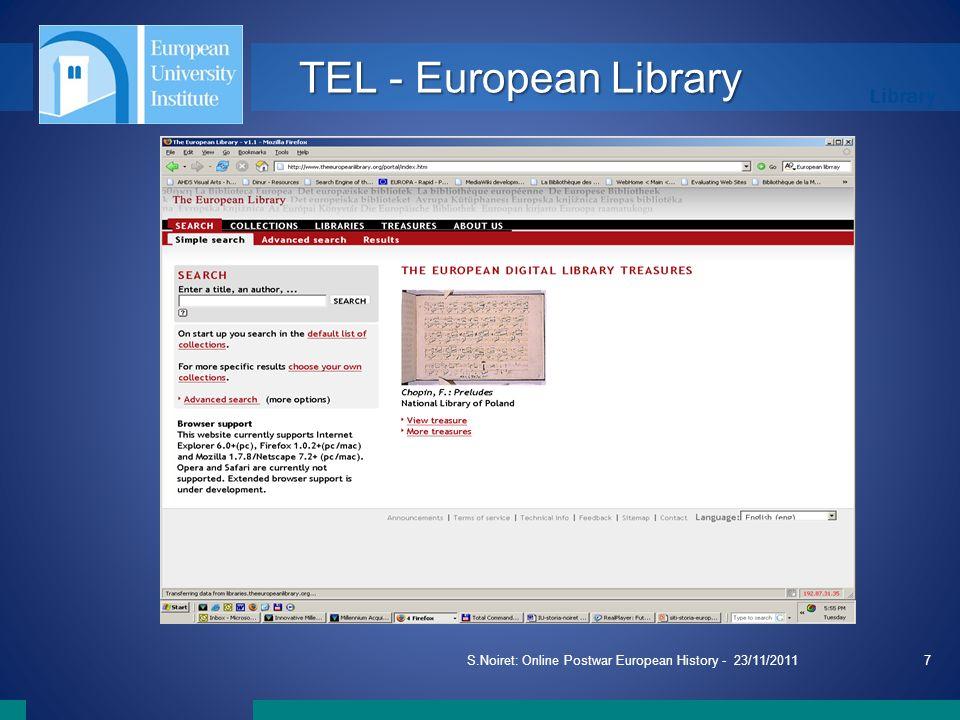 Library S.Noiret: Online Postwar European History - 23/11/20117 TEL - European Library
