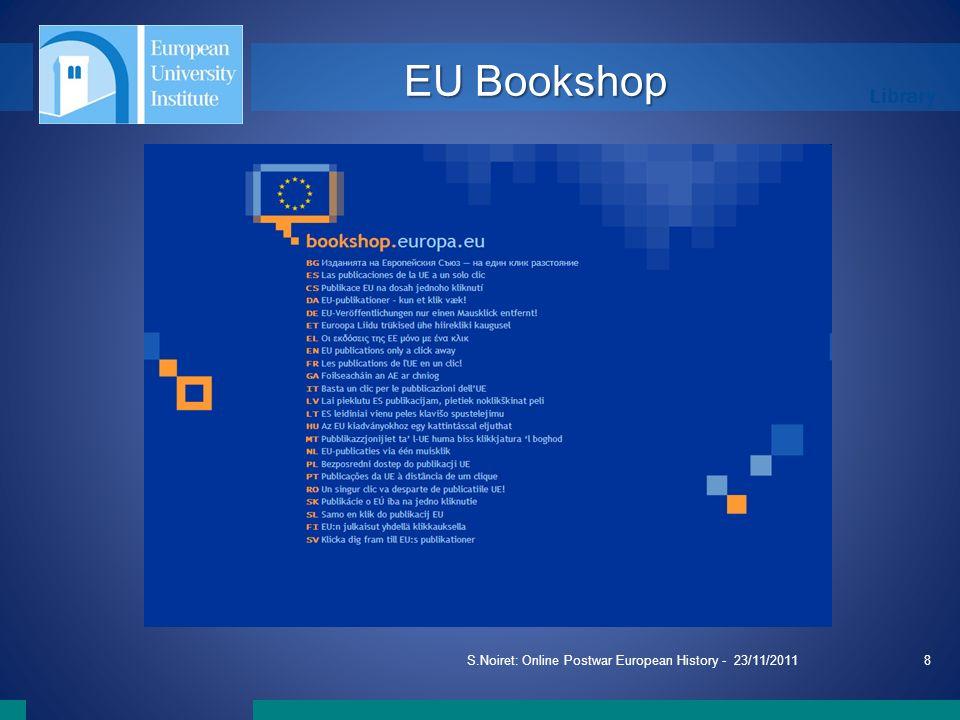 Library S.Noiret: Online Postwar European History - 23/11/20118 EU Bookshop