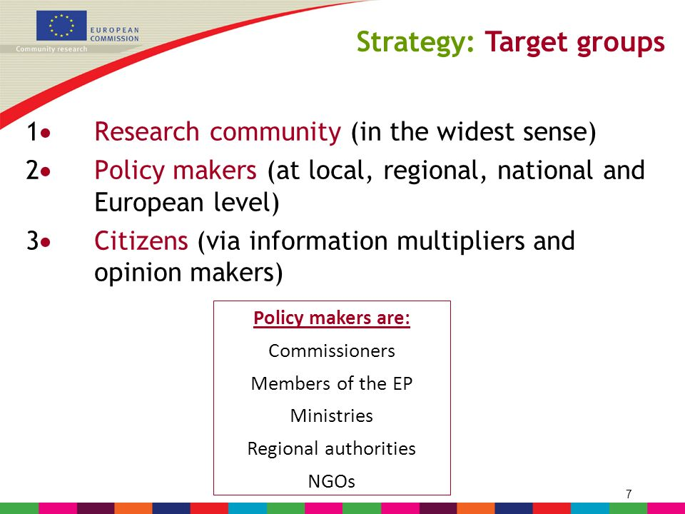 8 The key messages are to be tailored to the different target groups ! Strategy: Key messages