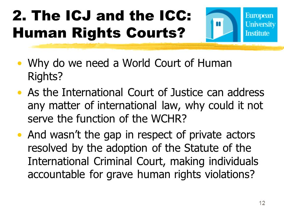 2. The ICJ and the ICC: Human Rights Courts? Why do we need a World Court of Human Rights? As the International Court of Justice can address any matte
