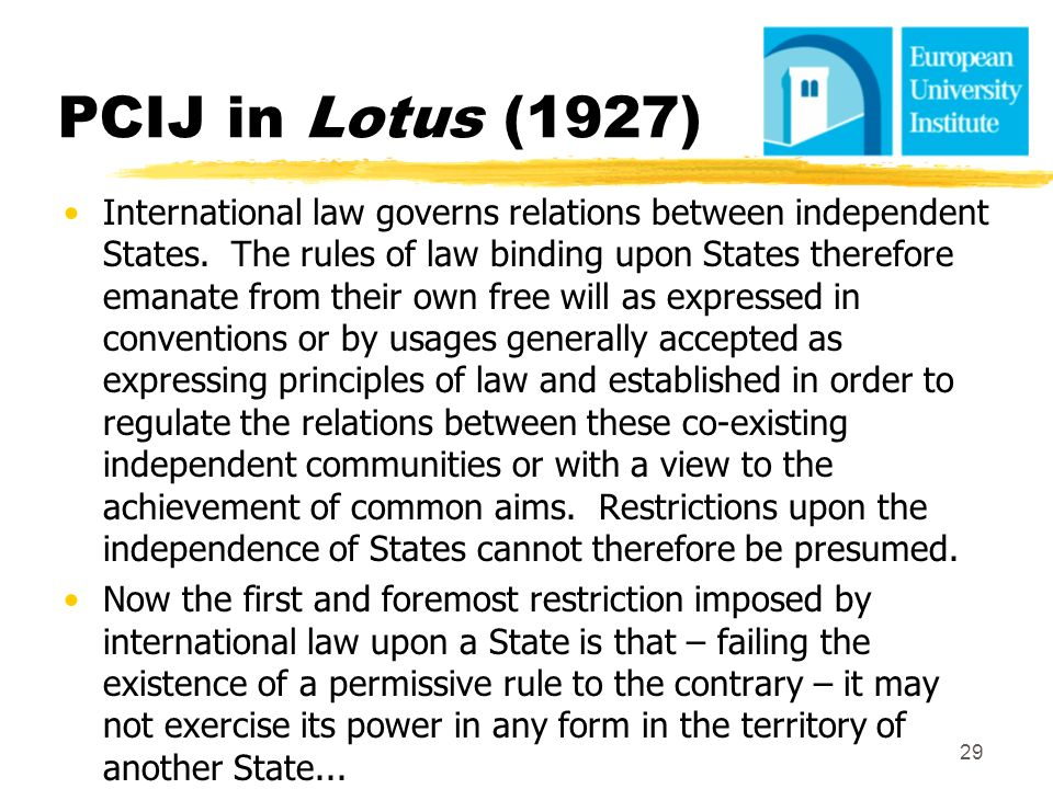 PCIJ in Lotus (1927) International law governs relations between independent States. The rules of law binding upon States therefore emanate from their