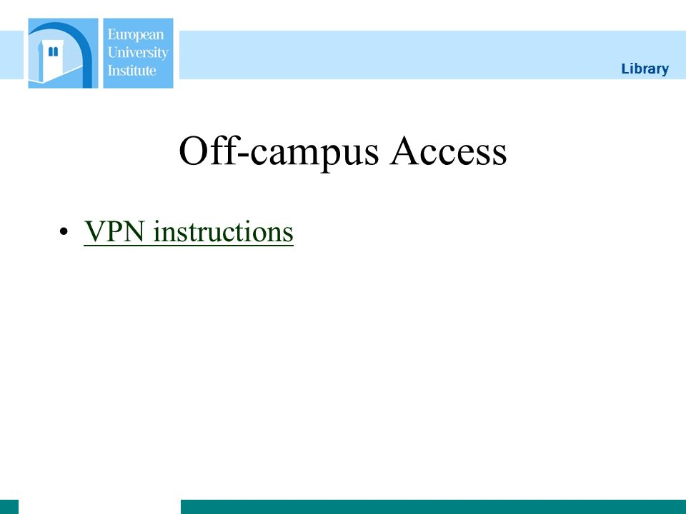 Library Off-campus Access VPN instructions