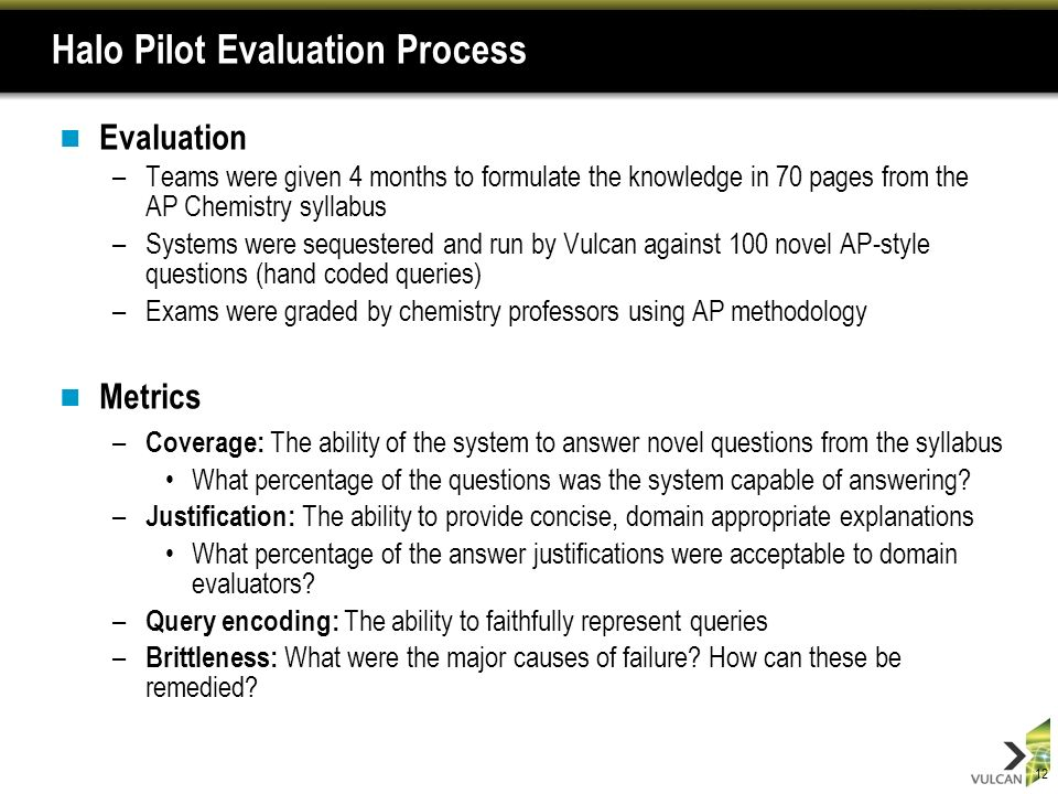 12 Halo Pilot Evaluation Process Evaluation –Teams were given 4 months to formulate the knowledge in 70 pages from the AP Chemistry syllabus –Systems were sequestered and run by Vulcan against 100 novel AP-style questions (hand coded queries) –Exams were graded by chemistry professors using AP methodology Metrics – Coverage: The ability of the system to answer novel questions from the syllabus What percentage of the questions was the system capable of answering.