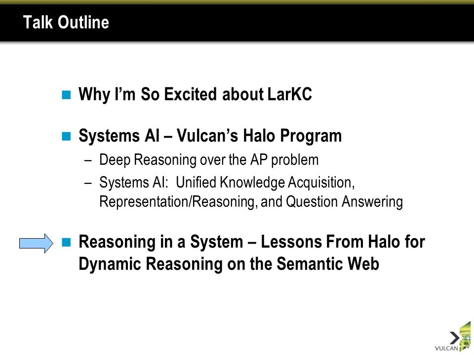 20 Talk Outline Why Im So Excited about LarKC Systems AI – Vulcans Halo Program –Deep Reasoning over the AP problem –Systems AI: Unified Knowledge Acquisition, Representation/Reasoning, and Question Answering Reasoning in a System – Lessons From Halo for Dynamic Reasoning on the Semantic Web