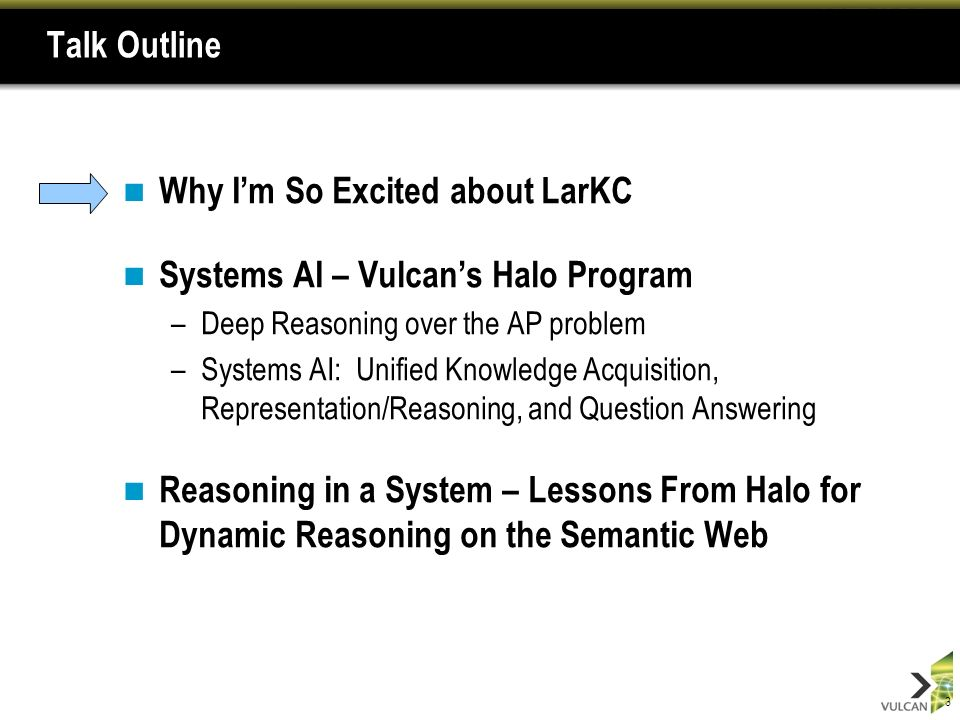 24 Lesson 4: Speed Matters Many problems are effectively time-bound –A significant change in quantity is often a change in quality –Search engines couldnt perform without massive web caches –SLAs are tough in distributed reasoning systems A priori data/problem partitioning is very hard Query decomposition and transaction monito –Communications latencies can be massive Halo has investigated big hardware –Cray XMT (Red Storm) graph processing machine –Netezza graph processing appliance – massively parallel compiled SQL in hardware Pattern counting (24-hour telephone triangles), 26B triples,.2% selection Already looking at anytime algorithms –Parallel application of business rules