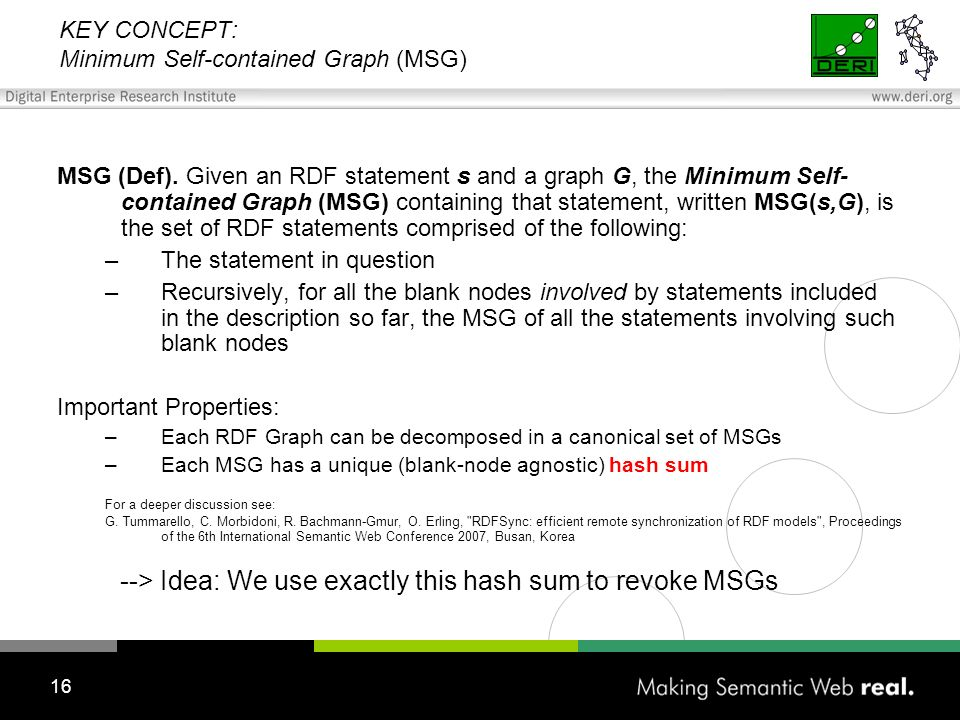 16 KEY CONCEPT: Minimum Self-contained Graph (MSG) MSG (Def).