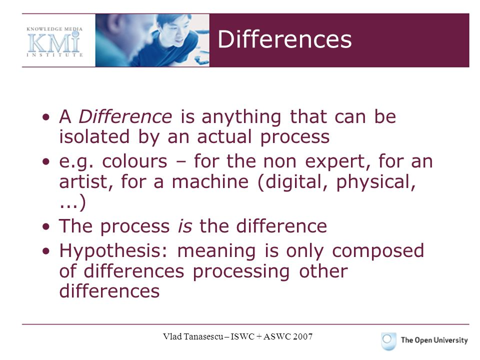 Vlad Tanasescu – ISWC + ASWC 2007 Differences A Difference is anything that can be isolated by an actual process e.g.