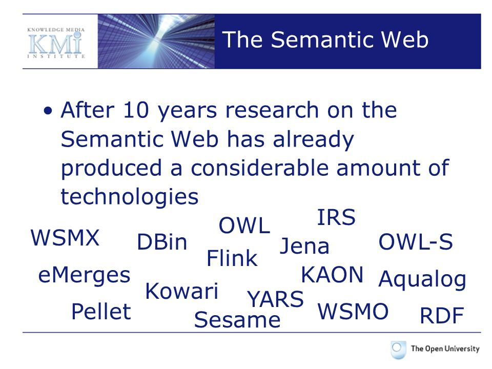Conclusion Considering the Semantic Web as an emerging phenomenon has important pragmatic consequences Opportunistic Reasoning seems particularly appropriate for reasoning over the Web Appealing characteristics from an Engineering perspective that make it a good candidate for supporting Semantic Web applications