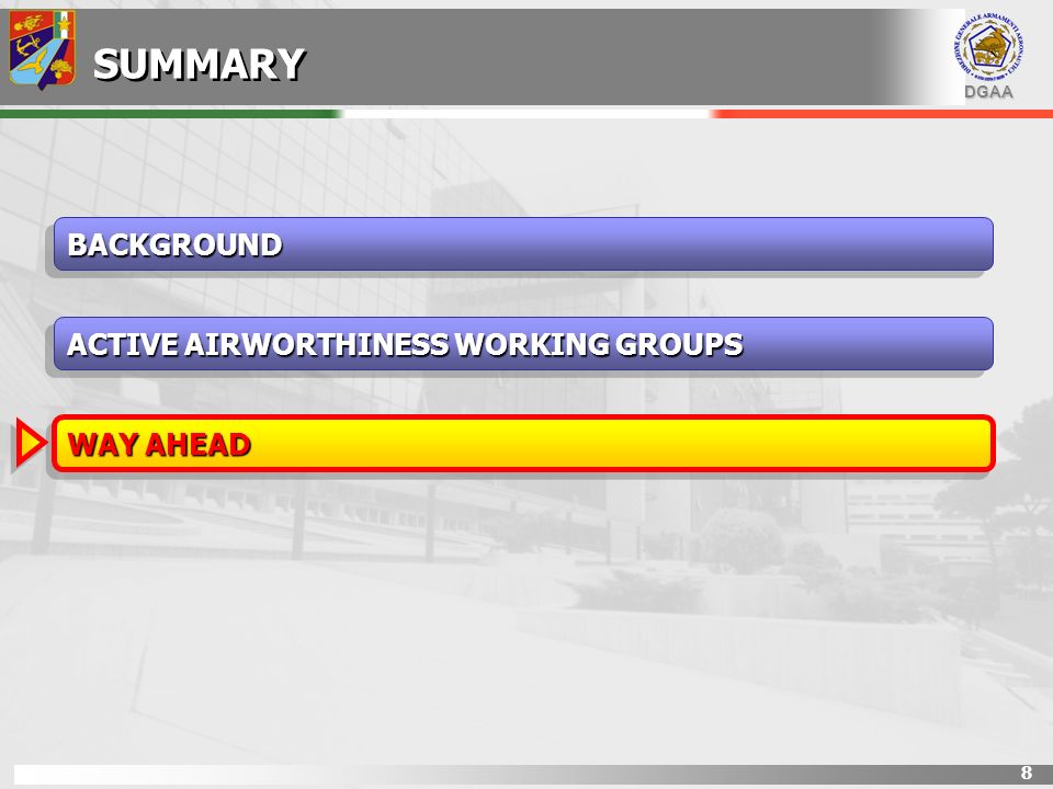 DGAA 8 SUMMARY BACKGROUNDBACKGROUND WAY AHEAD ACTIVE AIRWORTHINESS WORKING GROUPS