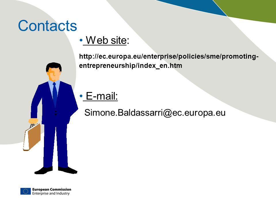 Contacts Web site: http://ec.europa.eu/enterprise/policies/sme/promoting- entrepreneurship/index_en.htm E-mail: Simone.Baldassarri@ec.europa.eu