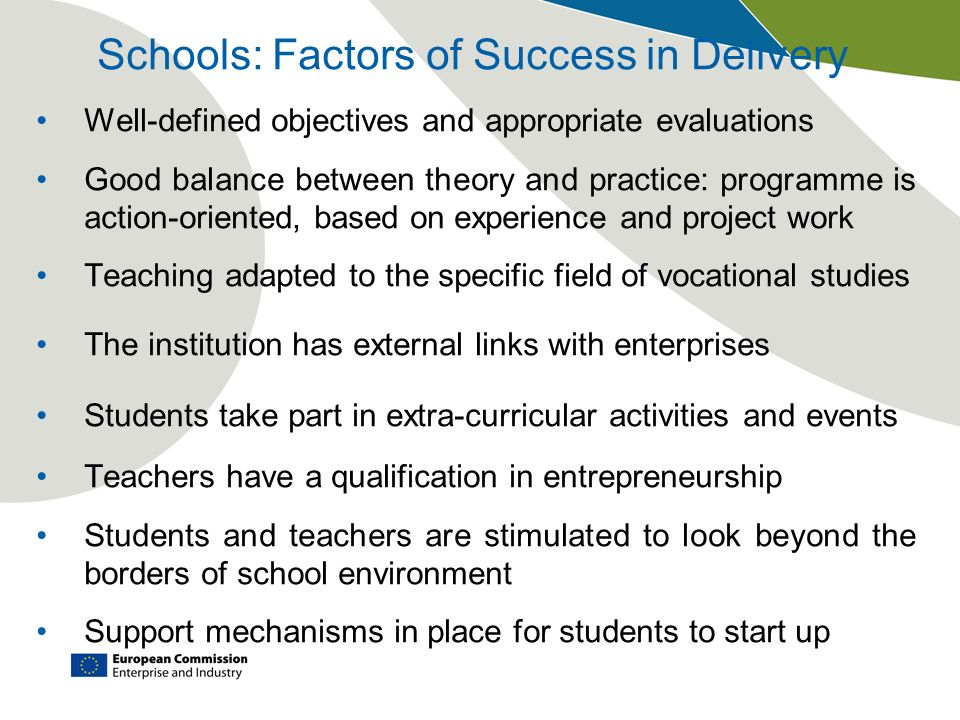 Schools: Factors of Success in Delivery Well-defined objectives and appropriate evaluations Good balance between theory and practice: programme is act