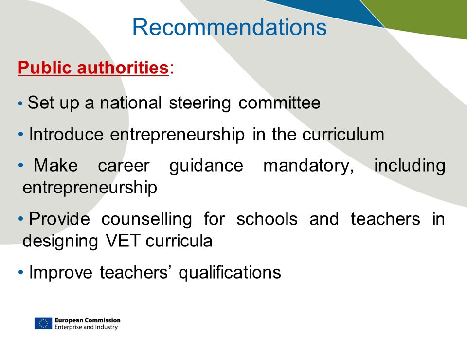 Recommendations Public authorities: Set up a national steering committee Introduce entrepreneurship in the curriculum Make career guidance mandatory,