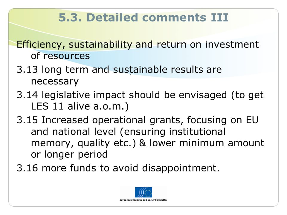 5.3. Detailed comments III Efficiency, sustainability and return on investment of resources 3.13 long term and sustainable results are necessary 3.14