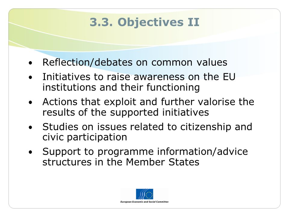 3.3. Objectives II Reflection/debates on common values Initiatives to raise awareness on the EU institutions and their functioning Actions that exploi