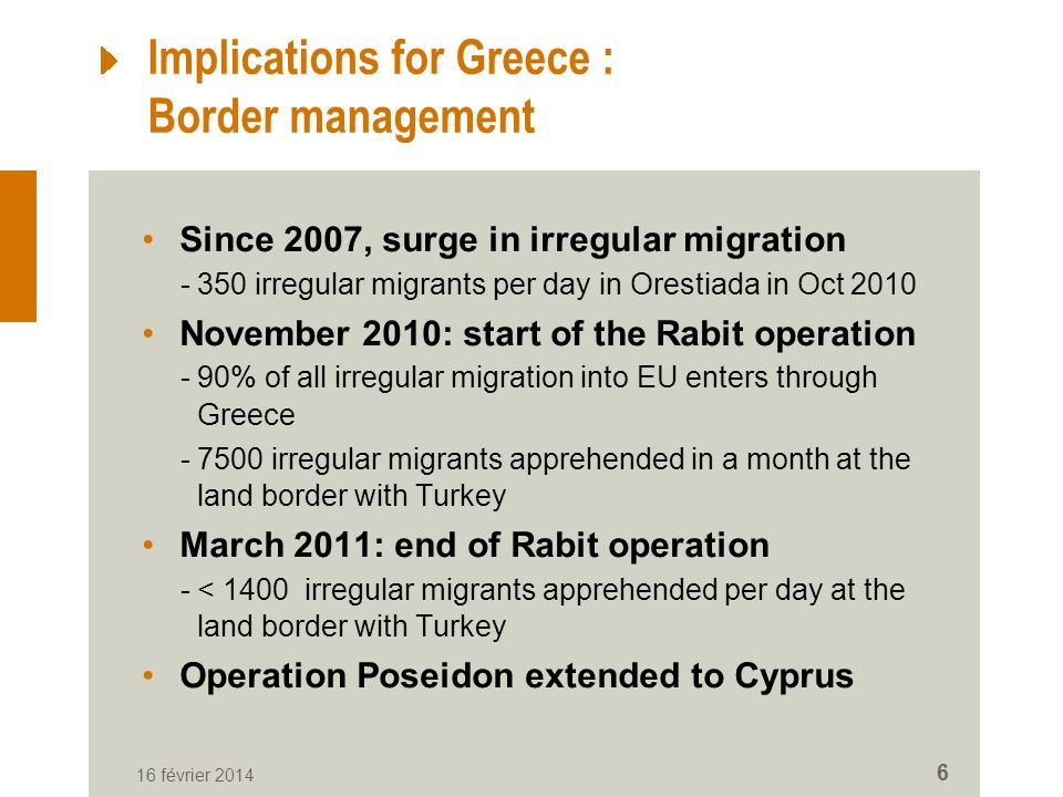 Implications for Greece : Border management Since 2007, surge in irregular migration -350 irregular migrants per day in Orestiada in Oct 2010 November 2010: start of the Rabit operation -90% of all irregular migration into EU enters through Greece -7500 irregular migrants apprehended in a month at the land border with Turkey March 2011: end of Rabit operation -< 1400 irregular migrants apprehended per day at the land border with Turkey Operation Poseidon extended to Cyprus 16 février 2014 6