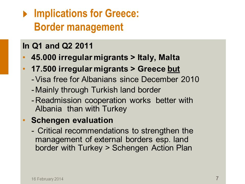 Implications for Greece: Border management In Q1 and Q2 2011 45.000 irregular migrants > Italy, Malta 17.500 irregular migrants > Greece but -Visa free for Albanians since December 2010 -Mainly through Turkish land border -Readmission cooperation works better with Albania than with Turkey Schengen evaluation - Critical recommendations to strengthen the management of external borders esp.