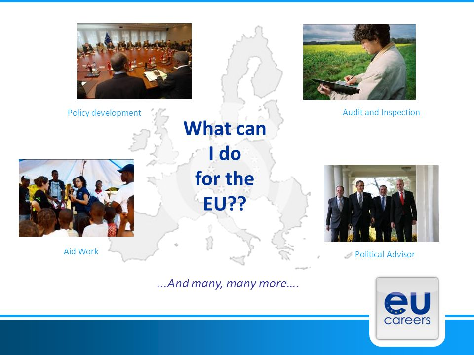 What can I do for the EU?? Political Advisor Aid Work...And many, many more…. Policy development Audit and Inspection