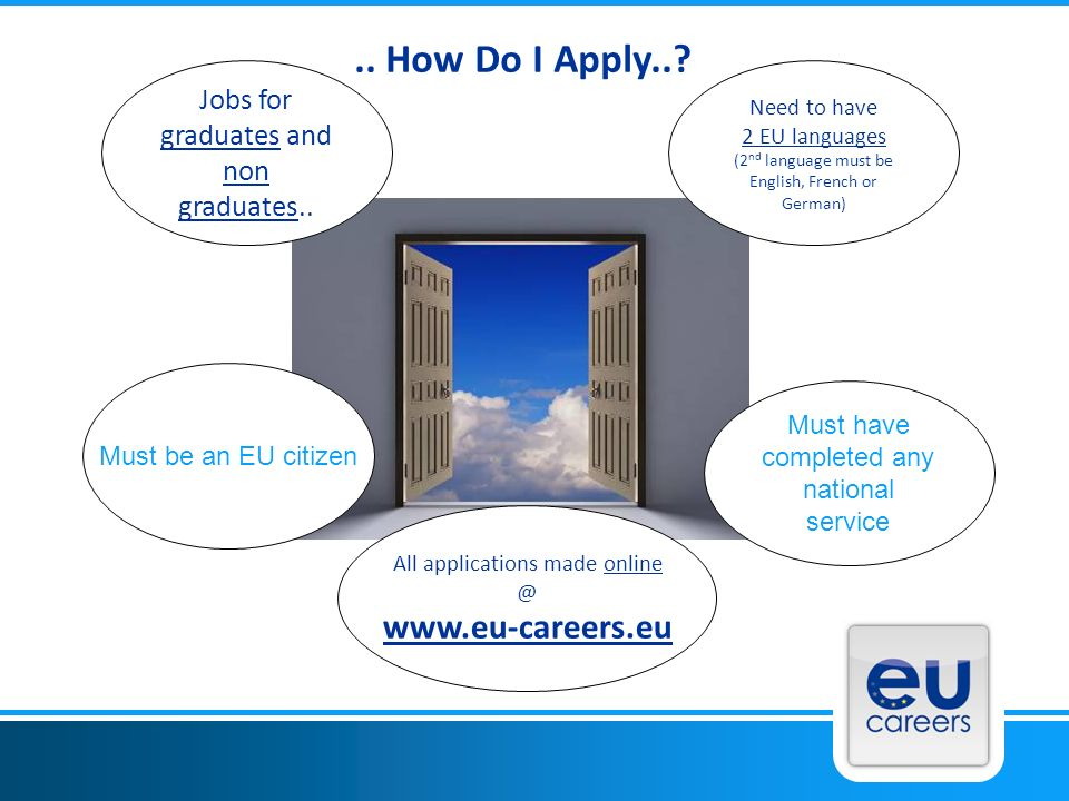 Jobs for graduates and non graduates.. Need to have 2 EU languages (2 nd language must be English, French or German) Must be an EU citizen Must have c
