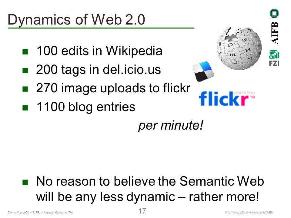 AIFB Denny Vrandečić – AIFB, Universität Karlsruhe (TH) 17   Dynamics of Web edits in Wikipedia 200 tags in del.icio.us 270 image uploads to flickr 1100 blog entries per minute.