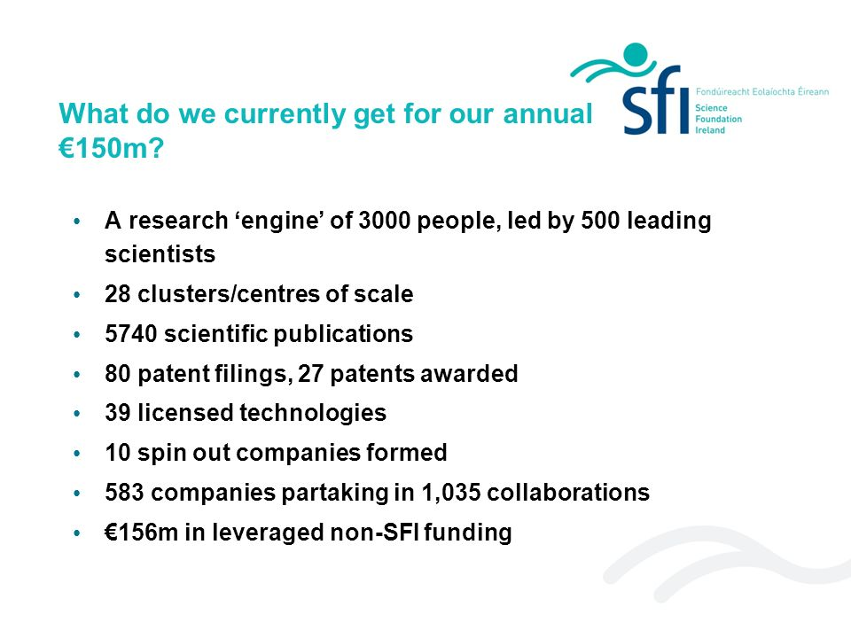 What do we currently get for our annual 150m? A research engine of 3000 people, led by 500 leading scientists 28 clusters/centres of scale 5740 scient