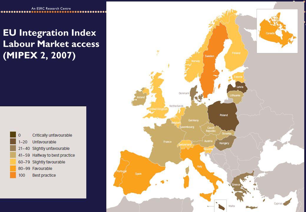 EU Integration Index Labour Market access (MIPEX 2, 2007)