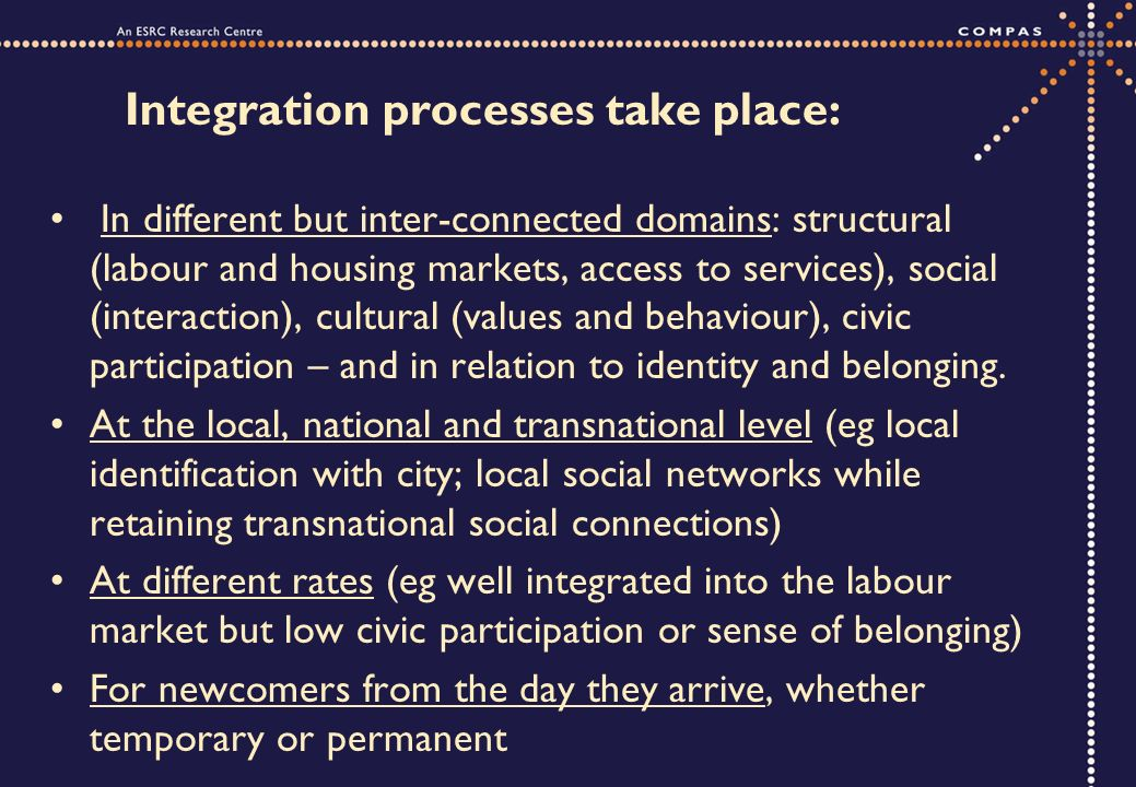 Integration processes take place: In different but inter-connected domains: structural (labour and housing markets, access to services), social (interaction), cultural (values and behaviour), civic participation – and in relation to identity and belonging.