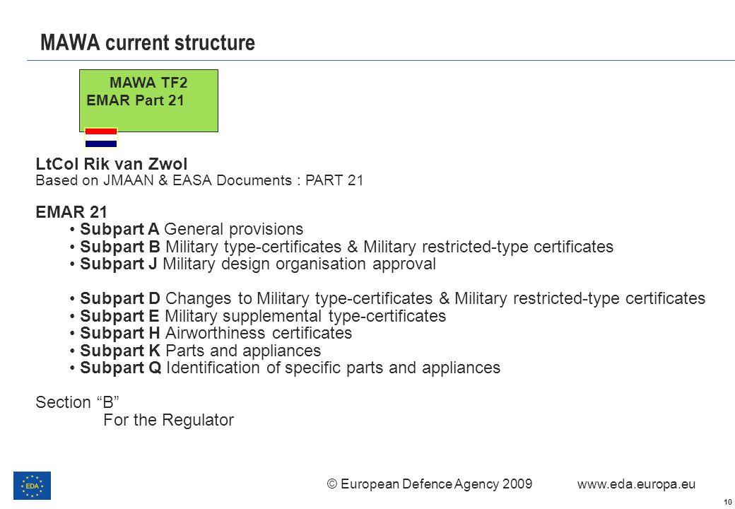 © European Defence Agency 2009 www.eda.europa.eu 10 MAWA current structure MAWA TF2 EMAR Part 21 LtCol Rik van Zwol Based on JMAAN & EASA Documents :