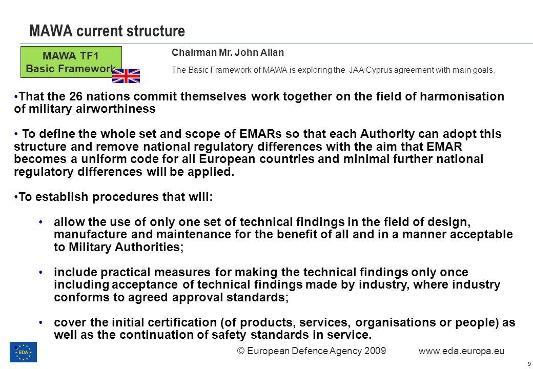 © European Defence Agency 2009 www.eda.europa.eu 9 MAWA current structure MAWA TF1 Basic Framework Chairman Mr. John Allan The Basic Framework of MAWA
