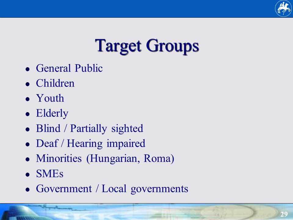 29 Target Groups General Public Children Youth Elderly Blind / Partially sighted Deaf / Hearing impaired Minorities (Hungarian, Roma) SMEs Government / Local governments