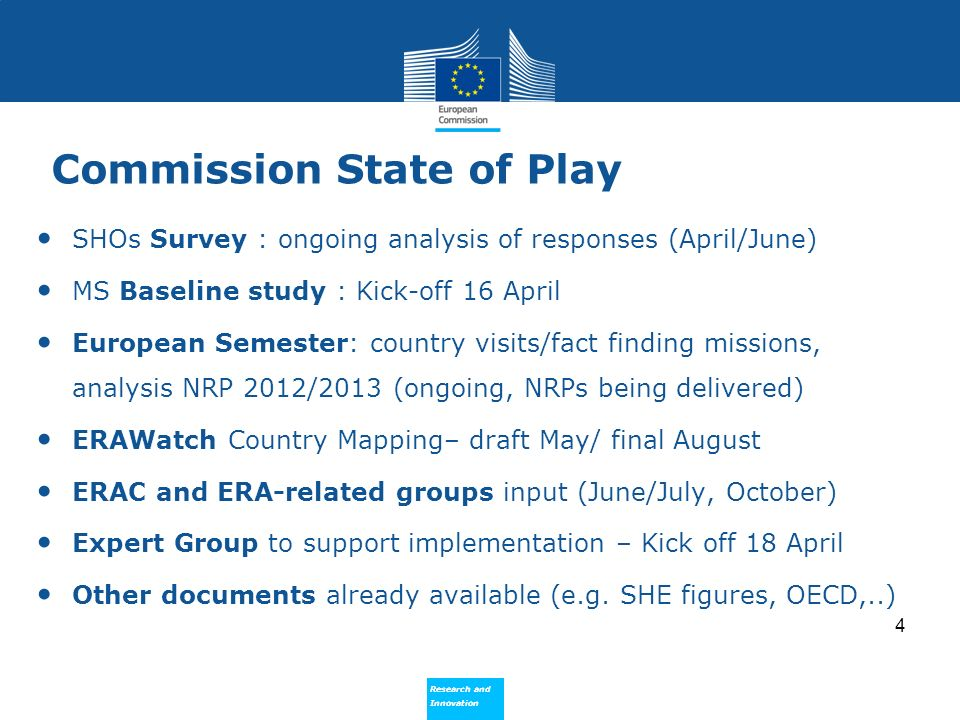 Research and Innovation Research and Innovation Commission State of Play SHOs Survey : ongoing analysis of responses (April/June) MS Baseline study : Kick-off 16 April European Semester: country visits/fact finding missions, analysis NRP 2012/2013 (ongoing, NRPs being delivered) ERAWatch Country Mapping– draft May/ final August ERAC and ERA-related groups input (June/July, October) Expert Group to support implementation – Kick off 18 April Other documents already available (e.g.