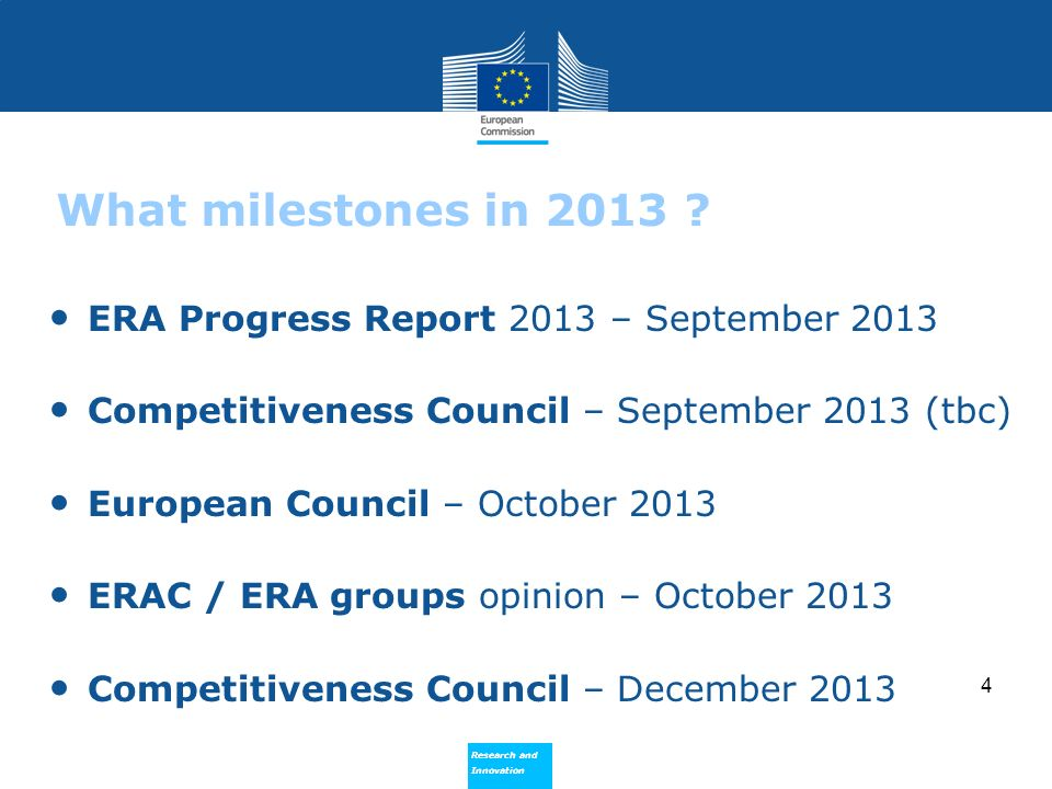 Research and Innovation Research and Innovation Commission State of Play [11.06.2013] Statistics available (e.g.