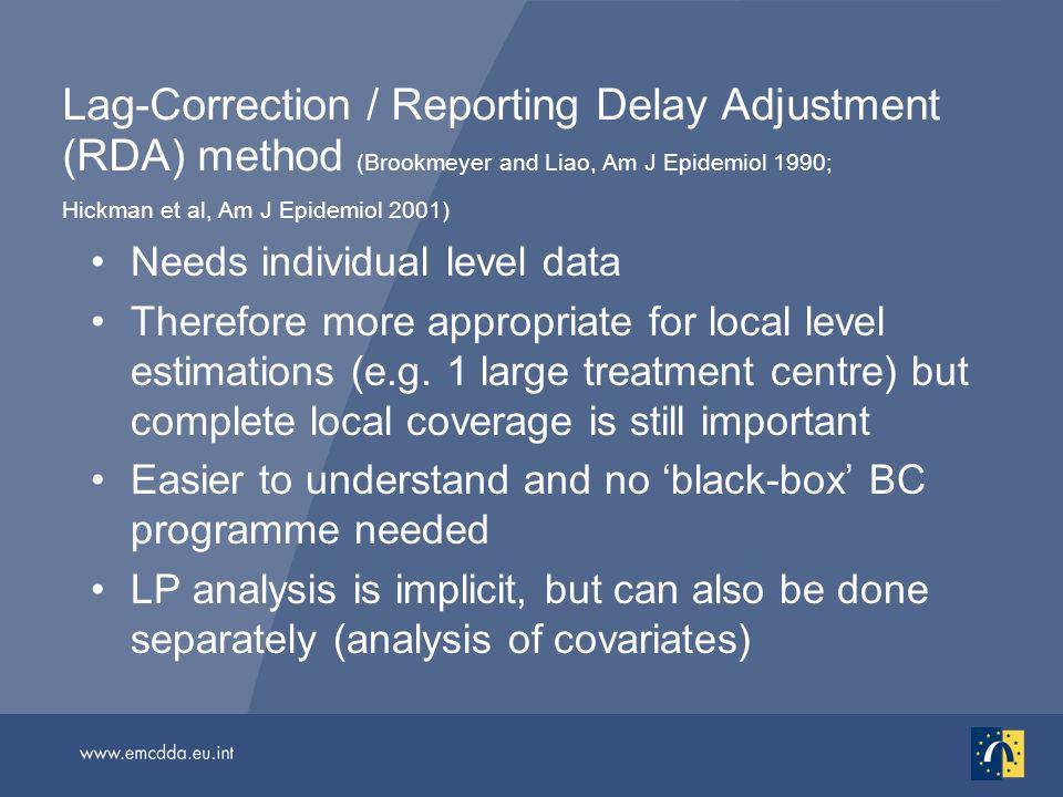 Lag-Correction / Reporting Delay Adjustment (RDA) method (Brookmeyer and Liao, Am J Epidemiol 1990; Hickman et al, Am J Epidemiol 2001) Needs individu