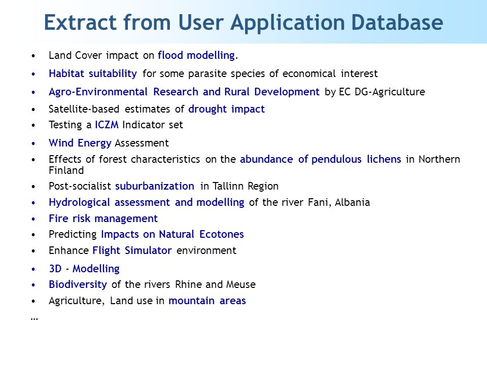 Extract from User Application Database Land Cover impact on flood modelling.