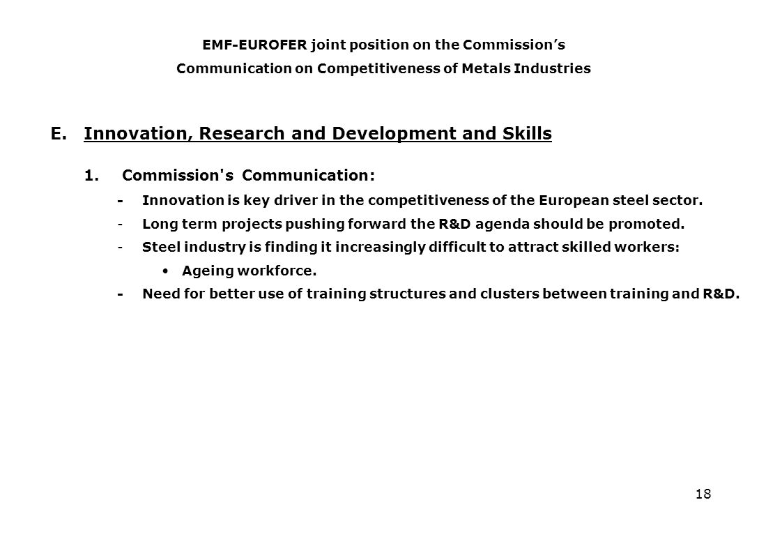 18 E.Innovation, Research and Development and Skills 1.