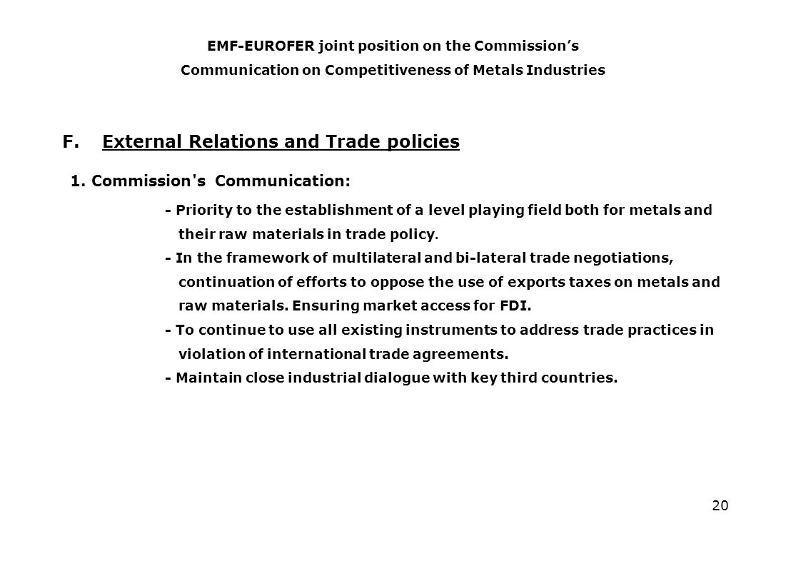 20 F. External Relations and Trade policies 1.