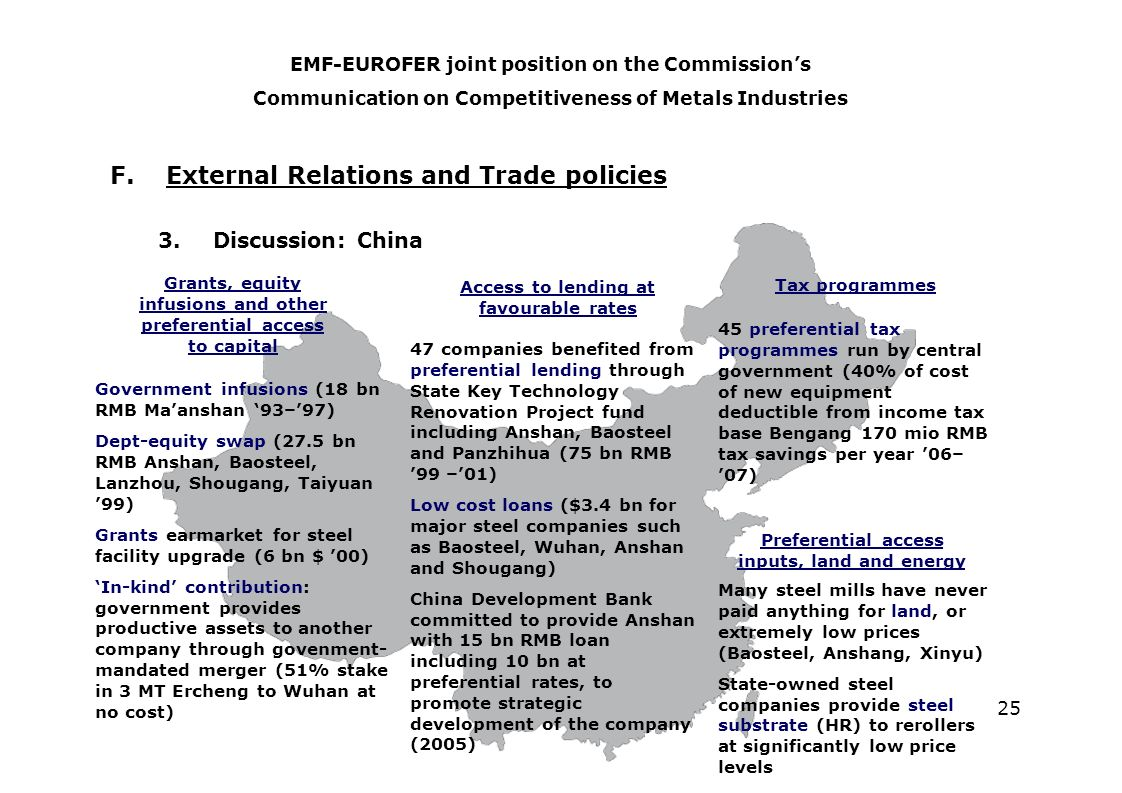 25 F. External Relations and Trade policies 3.