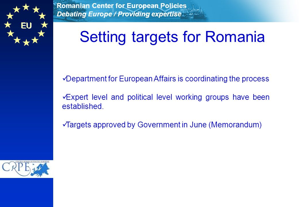 Romanian Center for European Policies Debating Europe / Providing expertise EU Setting targets for Romania Department for European Affairs is coordinating the process Expert level and political level working groups have been established.