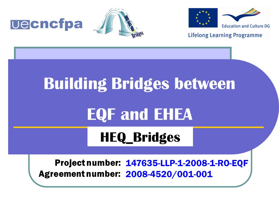 Building Bridges between EQF and EHEA HEQ_Bridges Project number: Agreement number: 147635-LLP-1-2008-1-RO-EQF 2008-4520/001-001