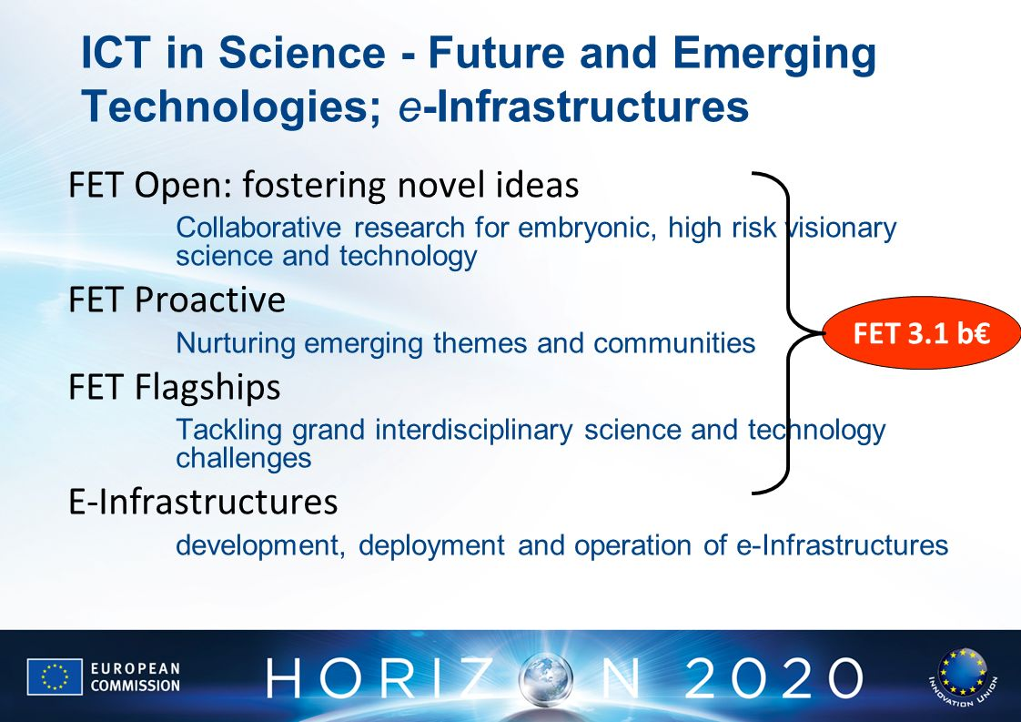 ICT in Science - Future and Emerging Technologies; e-Infrastructures FET Open: fostering novel ideas Collaborative research for embryonic, high risk v