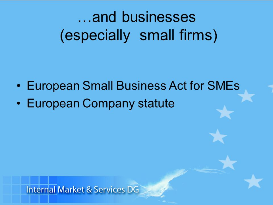 …and businesses (especially small firms) European Small Business Act for SMEs European Company statute