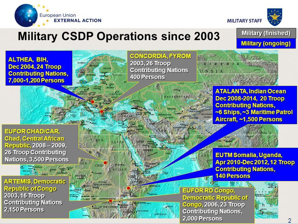 2 CONCORDIA, FYROM 2003, 26 Troop Contributing Nations 400 Persons ARTEMIS, Democratic Republic of Congo 2003, 16 Troop Contributing Nations 2,150 Per